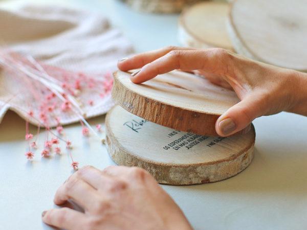 Invitacion de boda rodaja tronco madera. Curso Online de invitaciones de boda hechas a mano Escuela Project Party