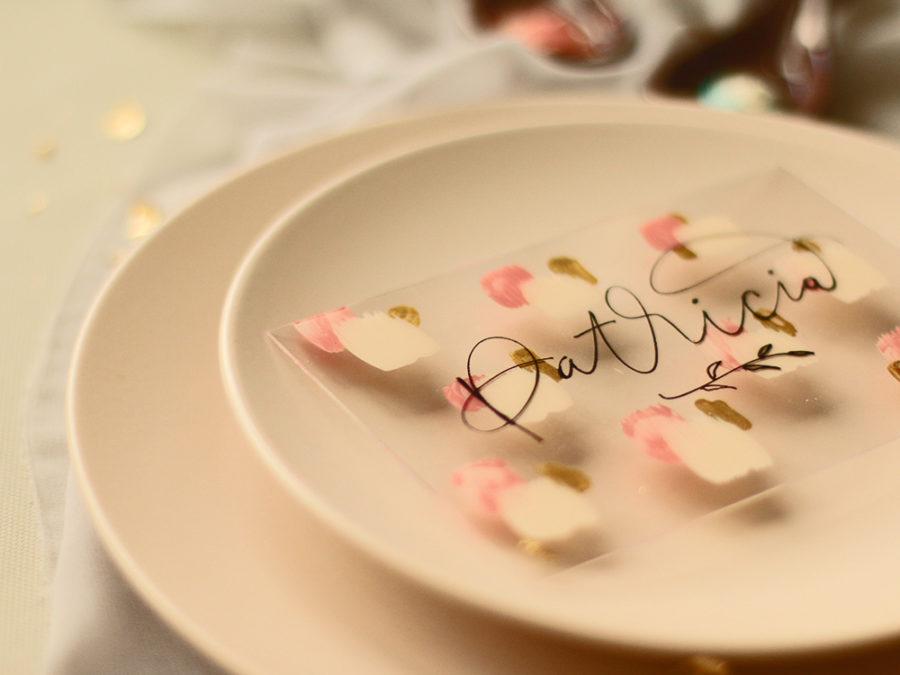 Marcasitios boda hechos a mano con lettering. Curso Online de invitaciones de boda hechas a mano Escuela Project Party