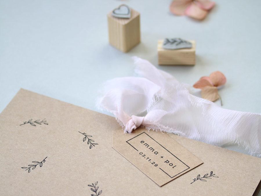 Invitacion de boda kraft. Curso Online de invitaciones de boda hechas a mano Escuela Project Party