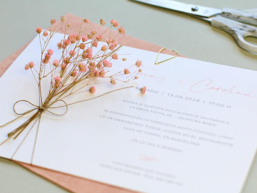 Invitacion con flor preservada. Curso Online de invitaciones de boda hechas a mano Escuela Project Party