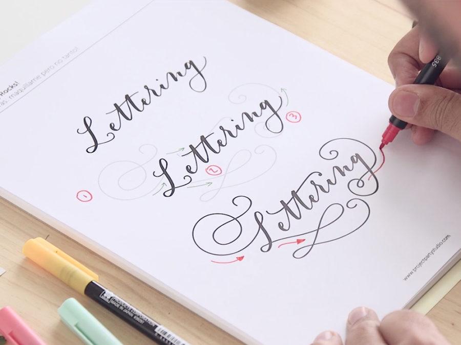 Curso Online lettering con rotuladores Escuela Project Party - Florituras